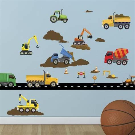 Truck Wallpaper Childrens Decor by Construction Truck Wall Decals For Boys Room Walls