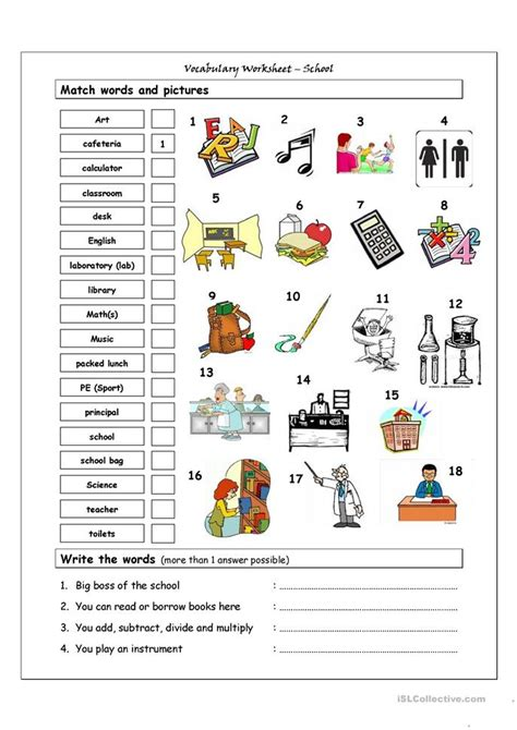 vocabulary matching worksheet school worksheet