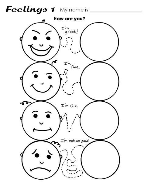 feelings and emotions worksheets for preschoolers