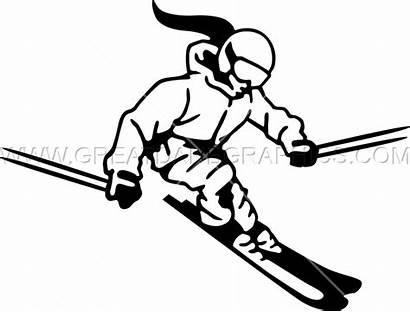 Skiing Ski Clipart Clip Silhouette Downhill Female