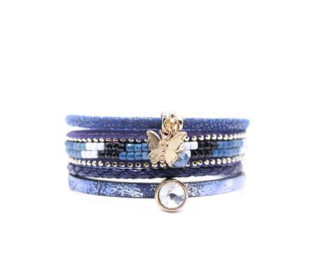 bracelet swarovski bleu bracelet multi tours swarovski bleu bijoux fantaisie