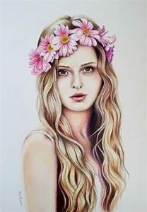 tumblr girl drawing flower crown - Google Search ...