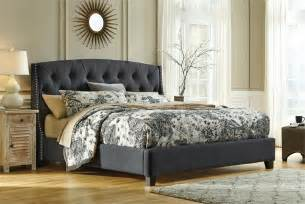 kasidon light dark gray queen tufted upholstered bed by signature design