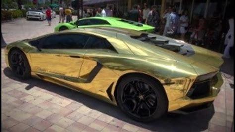 cars lamborghini gold gold plated lamborghini roaring around s fla