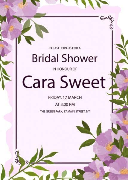 pengantin mandi undangan kartu ungu bunga dekorasi vektor