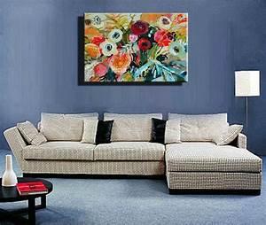 Famous, Artist, Acrylic, Paint, Living, Room, Abstract, Modern, Canvas, Art, Handmade, Decorative, Flower