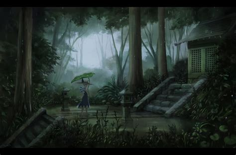 wallpaper anime landscape touhou cirno forest raining