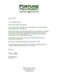 Certificate of Compliance Letter