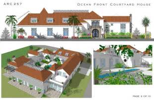 Images Mediterranean House Plans With Courtyard In Middle by Large Home Plans Designed By Arcadia Design Oceanfront