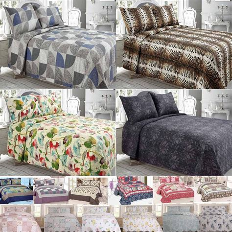 king quilted bedspread quilted bedspread bed throw set double king size patchwork cotton mix pillowcase ebay