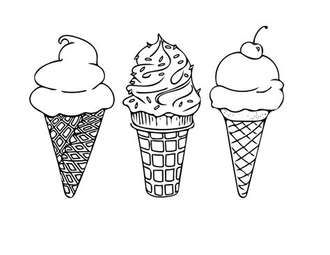 printable coloring sheet instant  ice cream cones