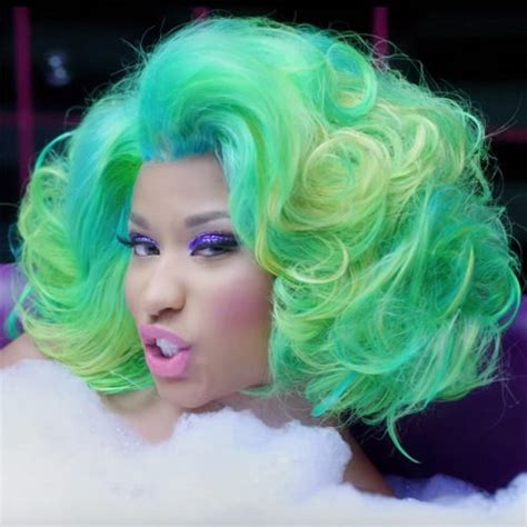 Nicki Minaj Wavy Green Bouffant, Retro, Uneven Color, Wig
