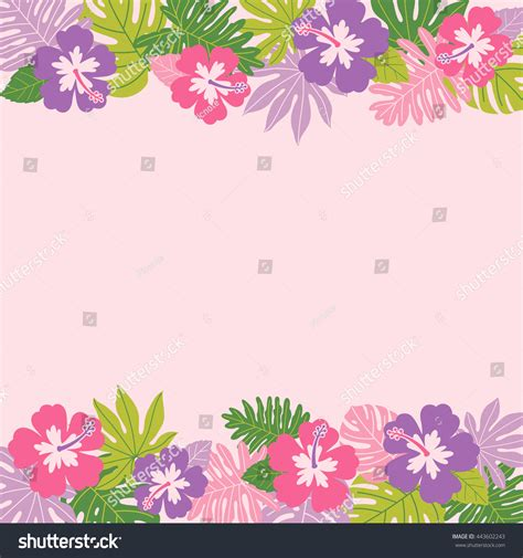hibiscus tropical leaf border frame vector stock vector