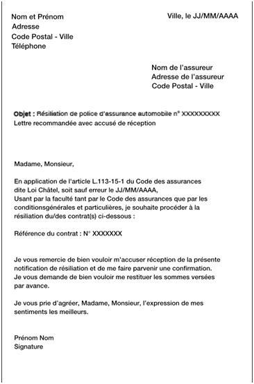 modele lettre résiliation assurance loi chatel 20 jours modele lettre resiliation assurance loi chatel 20 jours