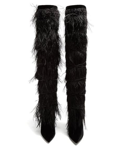Yeti Feather Embellished Over The Knee Boots Saint