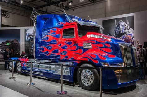 optimus prime transformers truck   stock photo