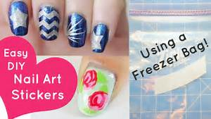 Easy diy nail art stickers using a freezer bag