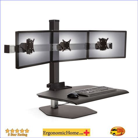 3 monitor standing desk sit stand desk adjustable monitor stand innovative