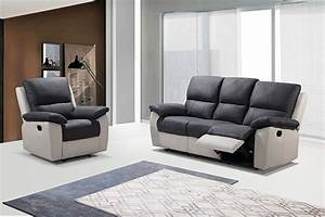 canape 3 places 2 relax manuel berlin luba gris fonce pu With canapé relax manuel 2 places