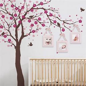 Cherry Blossom Tree Wall Decals Baby Room Nursery Large Tree With Flowers Wall Stickers For Kids