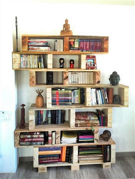 bookshelf made from pallets shelves made with recycled wood pallets pallet wood projects