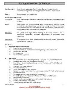 Office Manager Duties Resume by Office Manager Description For Resume Berathen