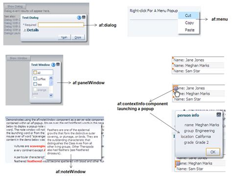 Using Popup Dialogs, Menus, And Windows