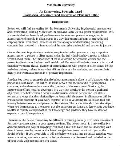 psychosocial assessment template 8 psychosocial assessment exles sle templates