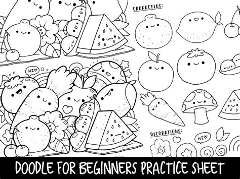 Doodle For Beginners Ep2 Reference/practice Printable Kawaii