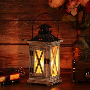 5x5x11inch, Wood, Wooden, Decorative, Candle, Lantern, Vintage, Rustic, Candle, Holder, For, Indoor, Outdoor