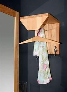 Hutablage 26x32x30cm, 1 Stange, 3 Kleiderhaken, Kernbuche