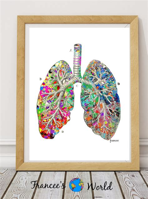 doctor gift lung anatomy watercolor vintage printable art