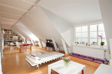 Stockholm Attic With Stepped Walls & Steep Ceilings