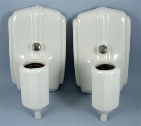 details  vintage art deco white porcelain wall sconce