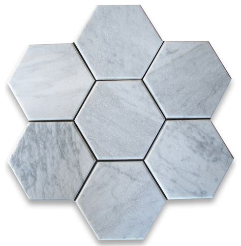 carrara white 6 inch hexagon tile tumbled marble from