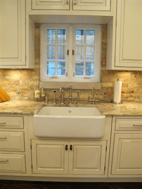 kitchen countertops and cabinets award winning kitchen with brick backsplash chicago 4318
