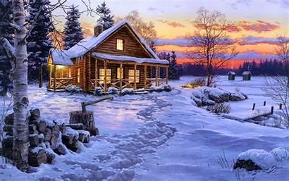 Winter Desktop Bliss Snow Wallpapers Cabin Log