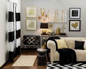 black and gold living room decor - 28 images - black white