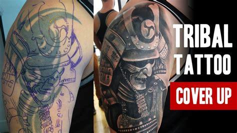 tribal tattoo cover   sitting salvation tattoo