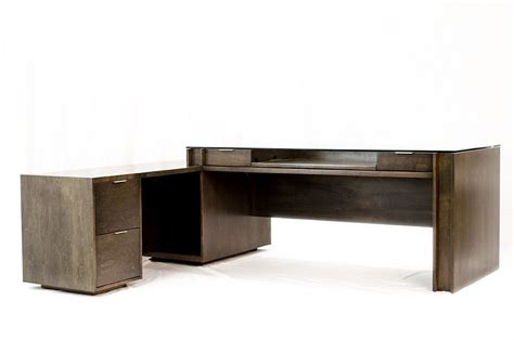 Handmade Glass Top, Executive Desk, Modern Style, Birch