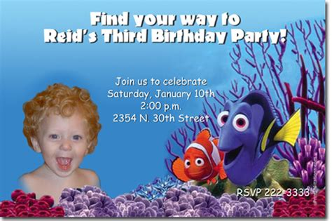 finding nemo birthday invitations candy wrappers