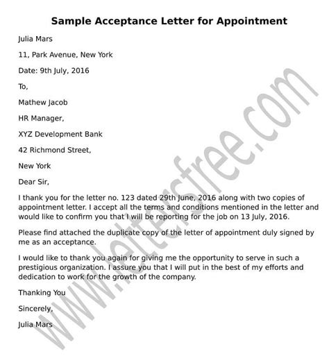 sample acceptance letter  appointment format job