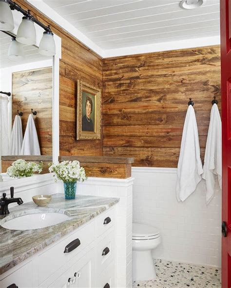 bathroom  hgtvmagazine features stained shiplap walls   painted ceiling click
