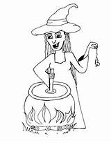 Cauldron Coloring Witch Halloween Halloweenprintables Stirs Smiling sketch template