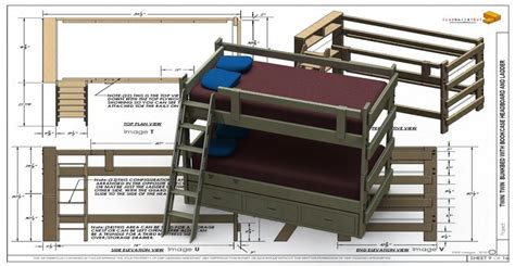 bunk bed twintwin    cad model library grabcad