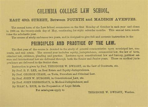 early history  columbia college law school