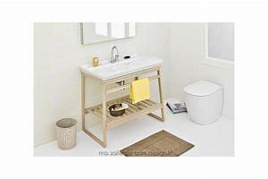 meuble vasque ouvert en bois de chene et ceramique blanche With salle de bain design avec vasque en ceramique blanche