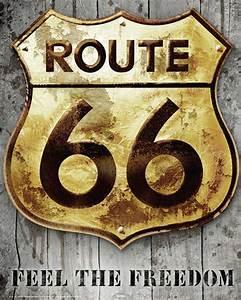 Route 66 Schild : route 66 golden sign schild amerika america poster plakat druck ebay ~ Whattoseeinmadrid.com Haus und Dekorationen