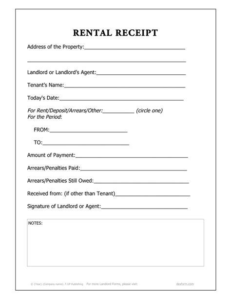 rental receipt template   documents