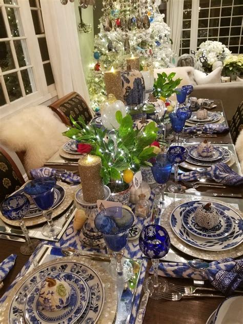 Thanksgiving Table Scape Chinoiserie Crystal Blue And White